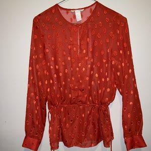 Orange long sleeve blouse
